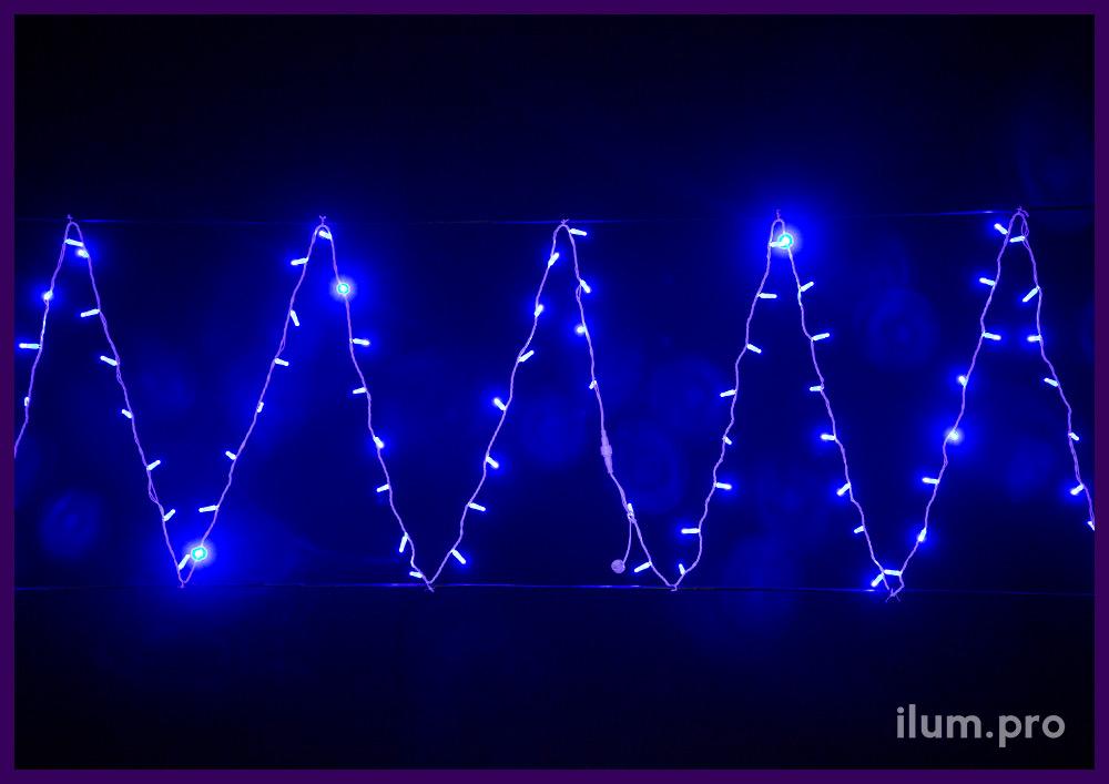 Синий светодиодный стринг на белом проводе статического свечения, защита IP65, 220 V