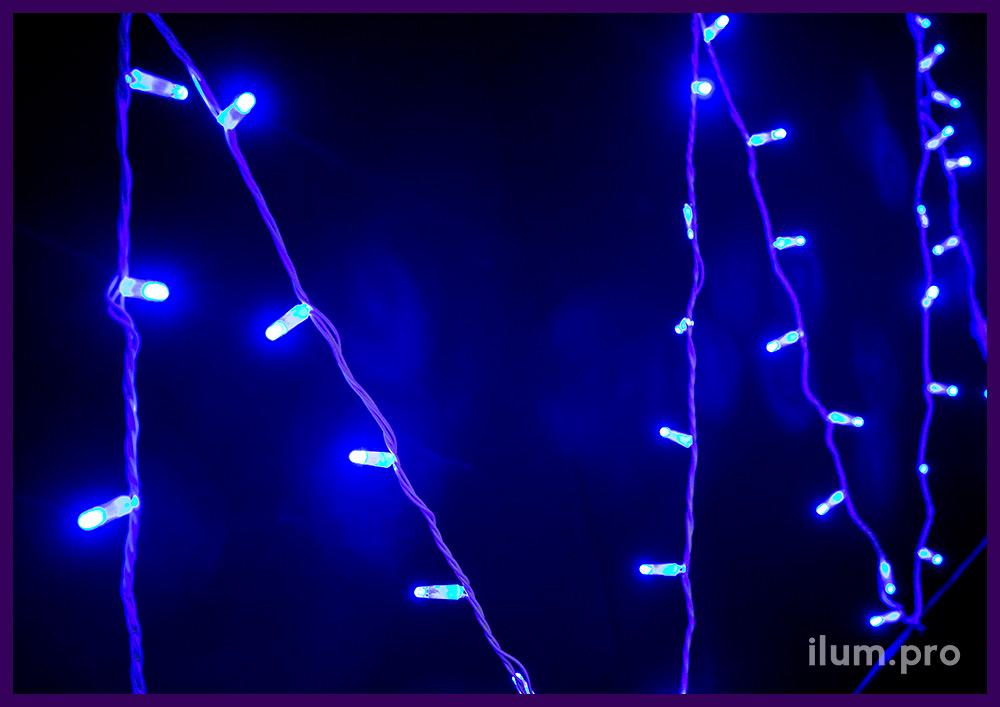 Новогодняя гирлянда нить синего цвета со статическим свечением и кабелем из белого ПВХ