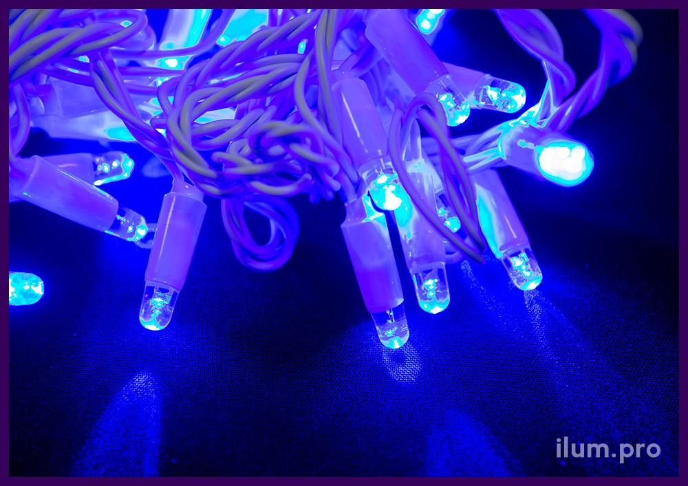Нить светодиодная статическая на кабеле из белого ПВХ, синий цвет свечения диодов
