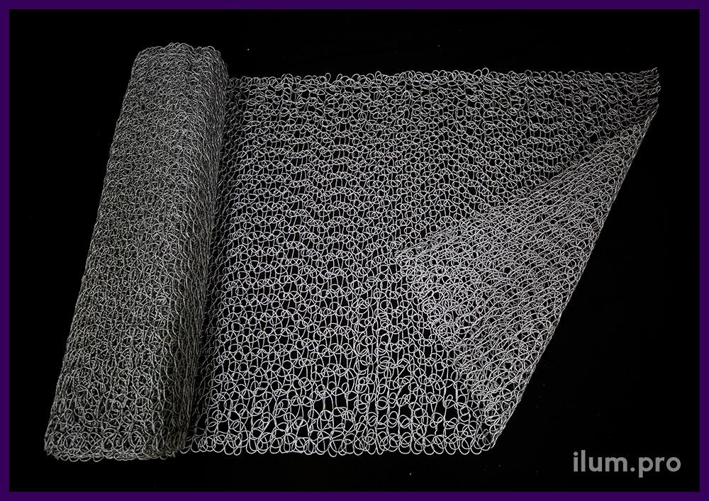 Серебристые сетки из пластика ПВХ для украшения декоративных фигур и арт-объектов