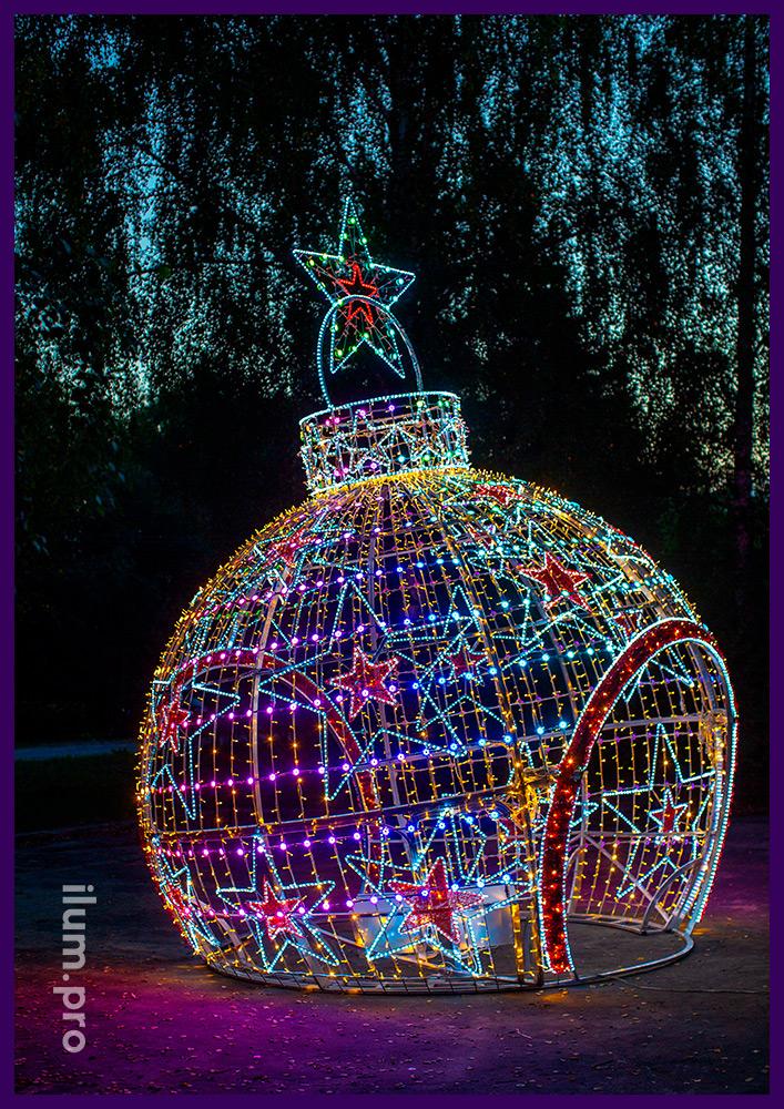 Новогодняя арка в форме шара с гирляндами и дюралайтом, LED RGB модули с эффектом смены цвета