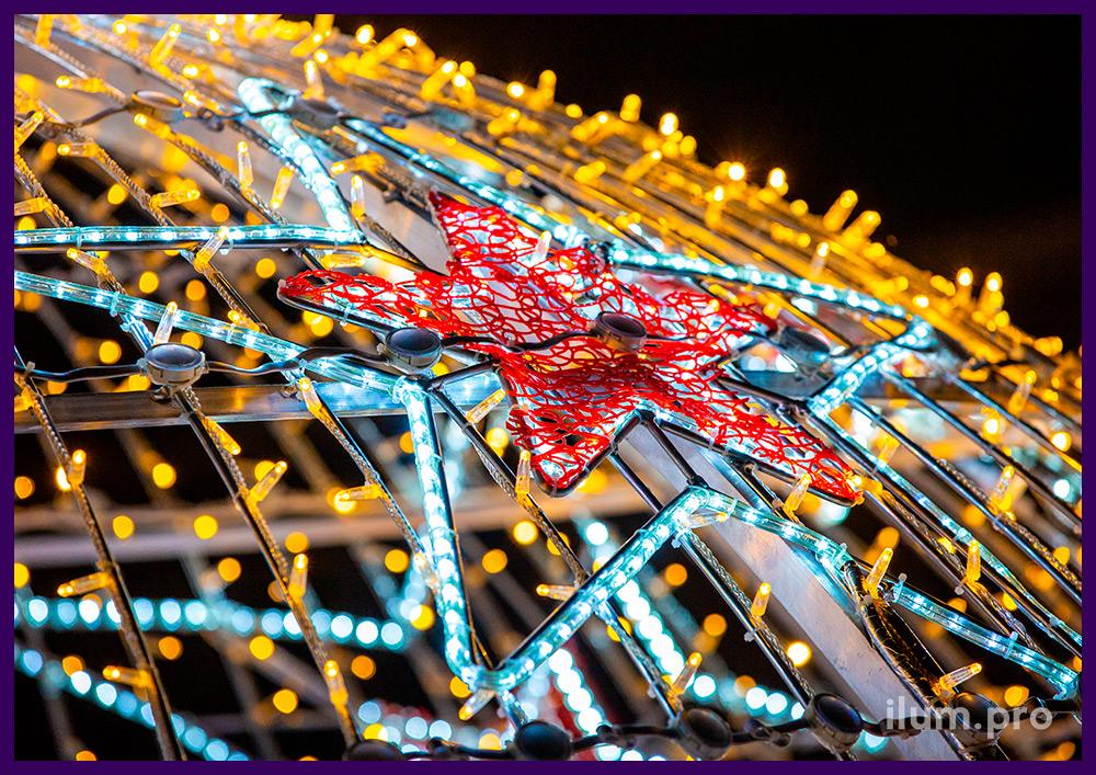 Новогодняя игрушка со звёздами - арка для украшения города на Новый год