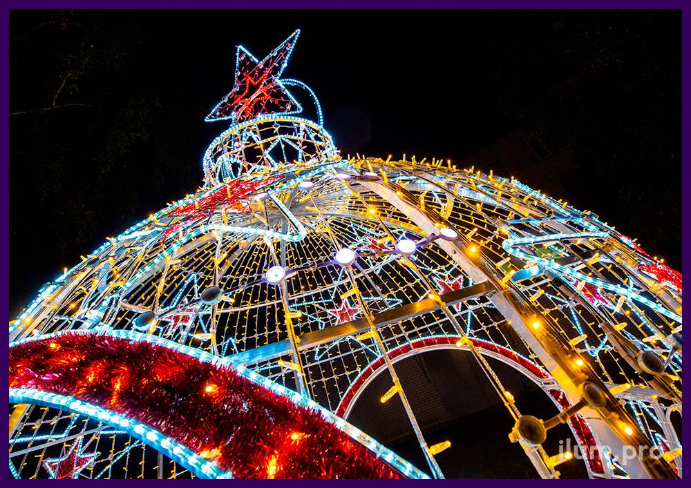 Новогодняя арка в форме ёлочного шара со звёздами из дюралайта и гирлянд, модули с эффектом смены цвета