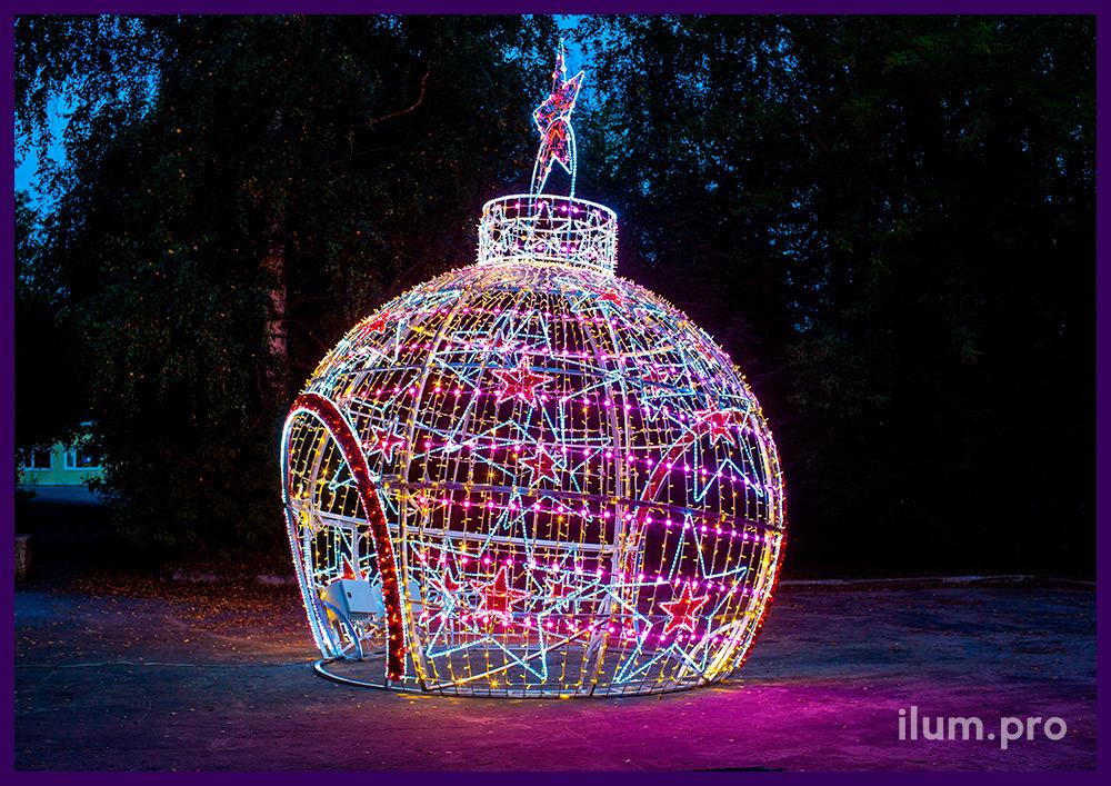 Ёлочная игрушка - декоративная арка на Новый год с управляемыми SMART RGB модулями