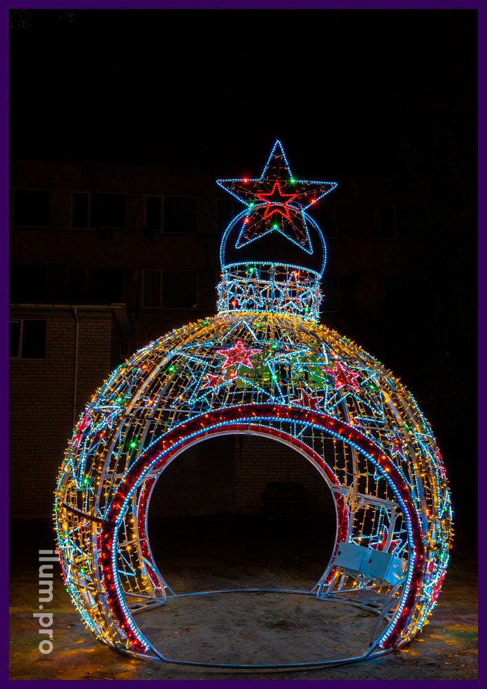 Новогодние декорации из алюминиевого каркаса, RGB модулей с эффектом смены цвета и контроллером управления на Новый год