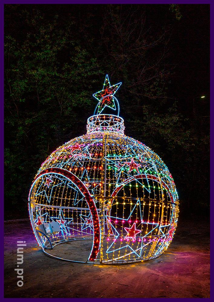 Разноцветный шар-арка из гирлянд и светодиодных RGB модулей, меняющих цвет на Новый год