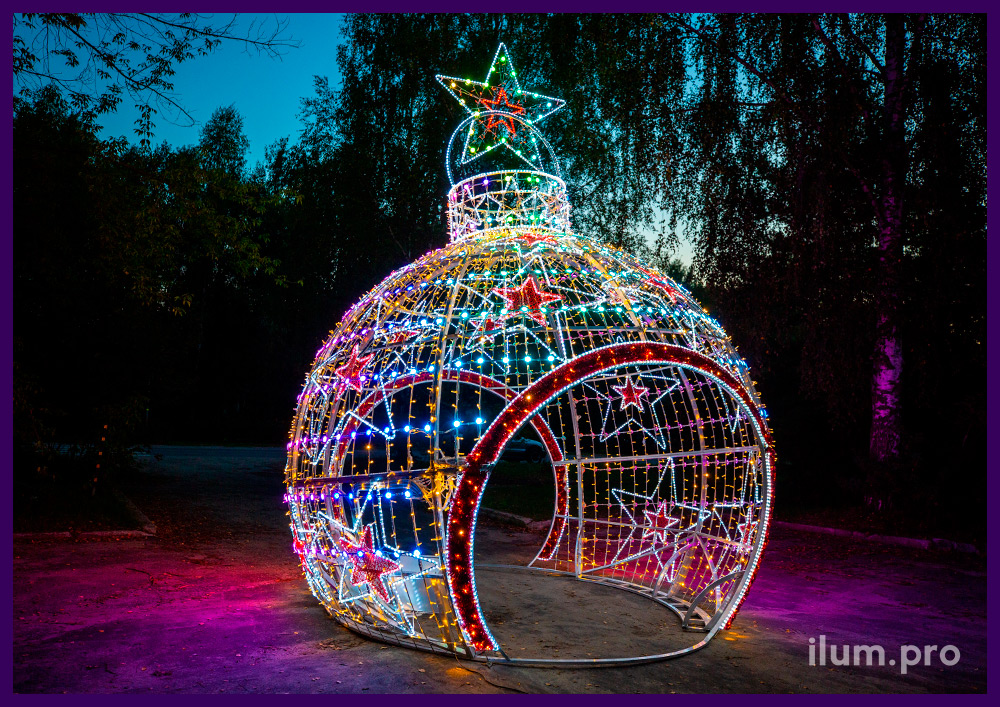 Декорации новогодние из металлического каркаса и разноцветных модулей с гирляндами и дюралайтом