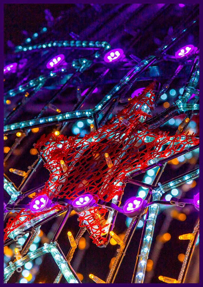 Шар арка ёлочная игрушка со светодиодными гирляндами и LED RGB модулями для украшения города на Новый год