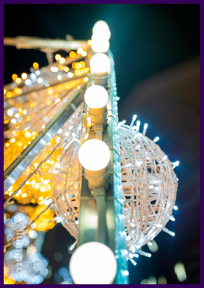 Арка с гирляндами и лампочками белтлайт, новогодние декорации с подсветкой