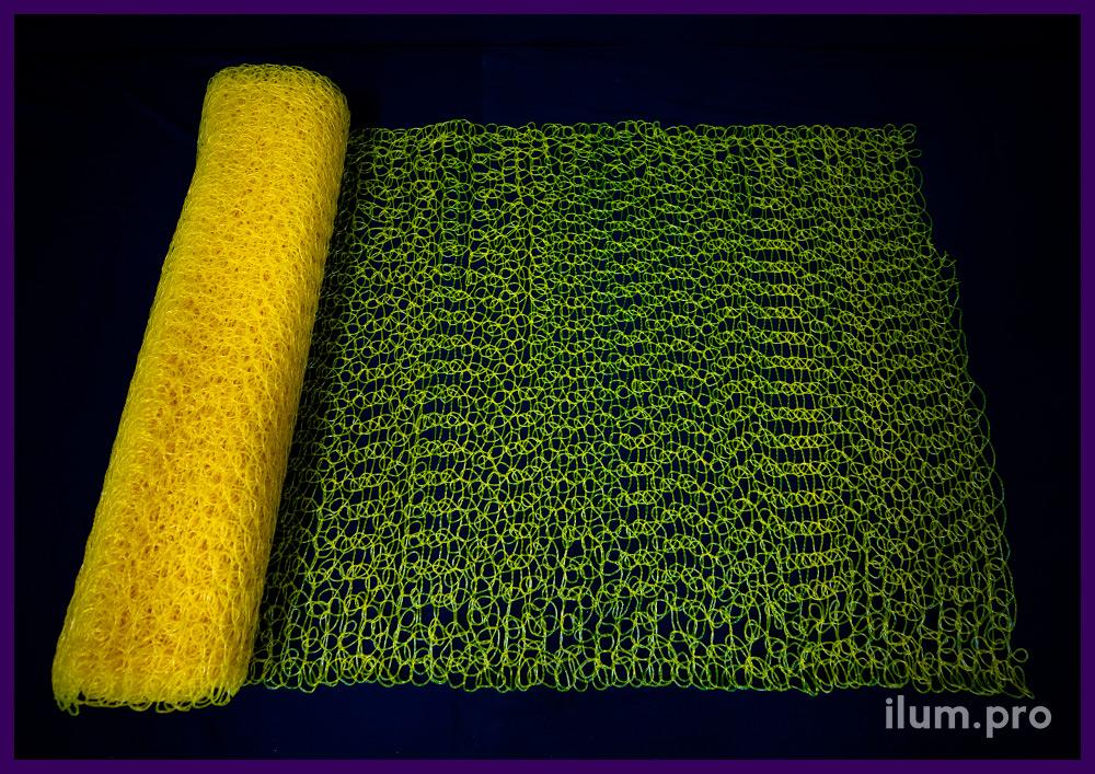 Сетка ПВХ жёлтого цвета, рулон длиной 10 метров, ширина 1 метр