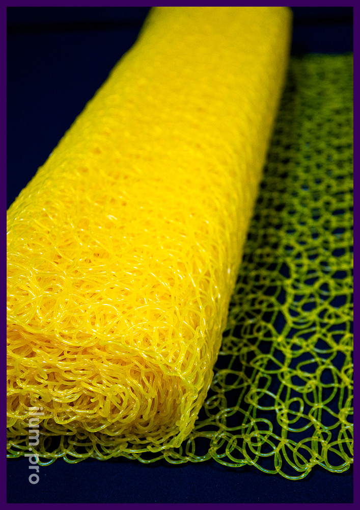 Жёлтая сетка ПВХ в рулоне, декоративное покрытие для новогодних и праздничных фигур